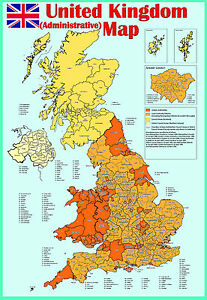 laminated-united-kingdom-uk-ADMINISTRATIVE-MAP-poster-Wall-chart