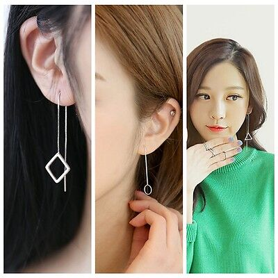 2pcs Women Silver Alloy Geometric Shape Pendant Long Earrings Jewelry Elegant