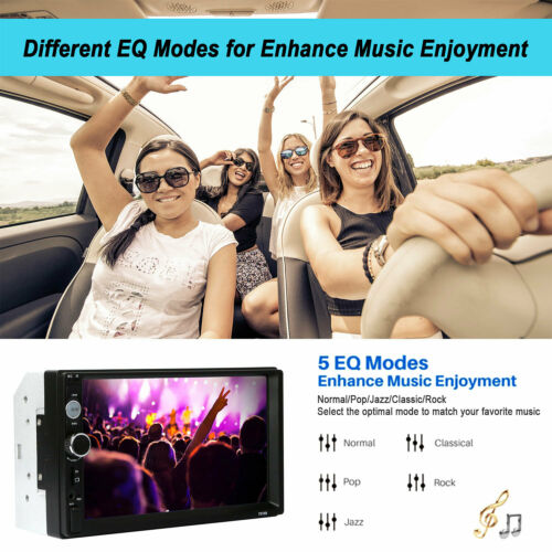 """7/"""" Touch Screen Bluetooth Car Radio MP5 Player Double Din FM Aux USB Camera"""