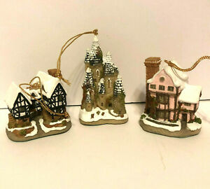 David-Winter-Cottages-Christmas-Ornaments-Miniatures-Set-of-3