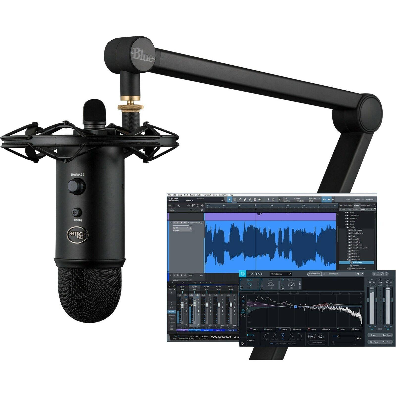 Blau YetiCaster - Pro Streaming Bundle w  USB Mikrofon, Shock Mount, Boom, & Software