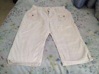 Riders beige denim capris cropped pants 100% cotton size 14