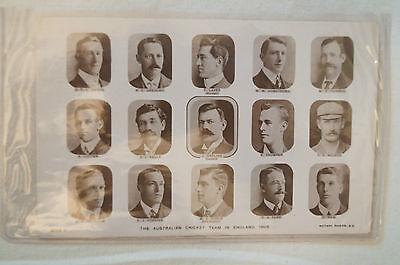 Cricket -Vintage Postcard -1905 Australian Cricket Team -inc. Trumper,Hill,Noble