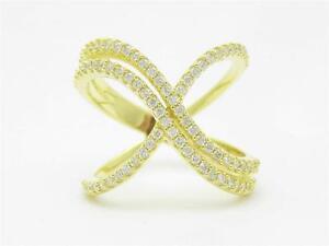 Oro-Amarillo-Conjunto-Plata-Ley-Diamante-Pave-Safiro-Blanco-X-Banda
