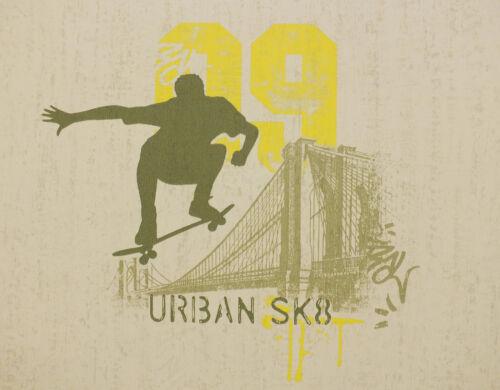 Kids Boys Childrens Girls Skateboard Wallpaper Olive Green /& Yellow