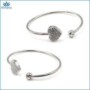 Bracciale da donna rigido con cuore zirconi in acciaio braccialetto inox per a