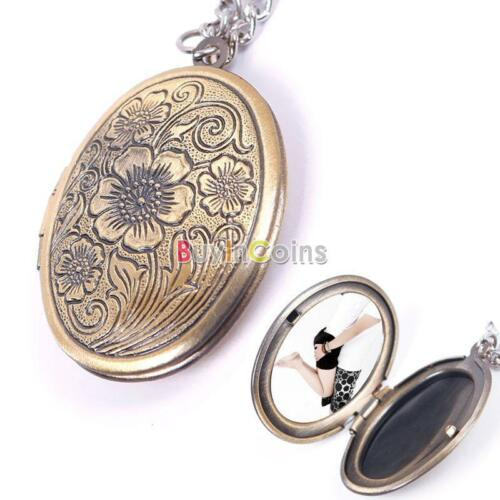 Magic Silver Bronze Flower Book Photo Frame Locket Pendant Chain Necklace DIY SY