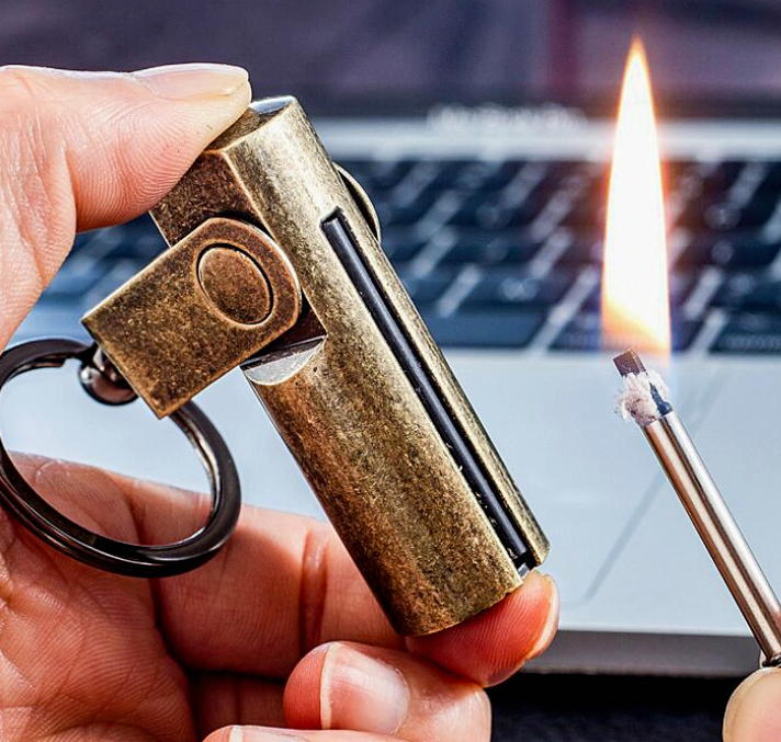 KeyChain Permanent Match Striker Lighter Keyring Golden