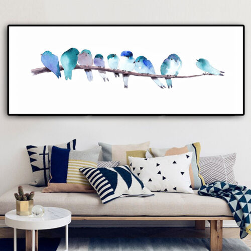 Watercolor Birds Canvas Poster Long Banner Minimalist Wall Art Prints for Kids