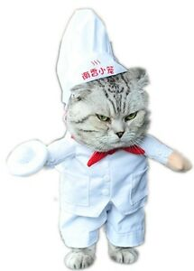 Pet Dog Cat Chef Cook Halloween Party Fancy Dress Costume Outfit Clothes S-XL