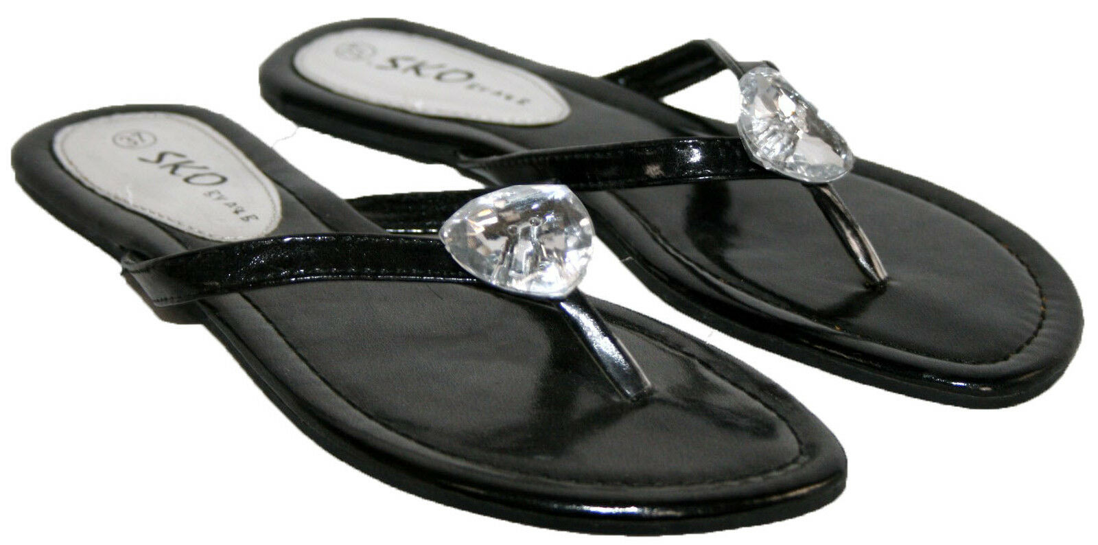 LADIES SLIP ON TOE POST MULE WITH 3-8 BEAD TRIM IN SIZES 3-8 WITH c41a6a