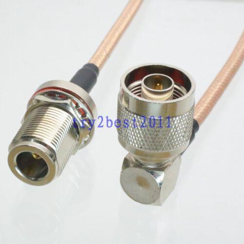 RG142 N plug pin 90° to N jack pin bulkhead Jumper pigtail Cable 20inch