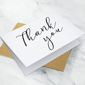 10 X Folded Wedding Thank You Cards Notes Pack Envelopes G16