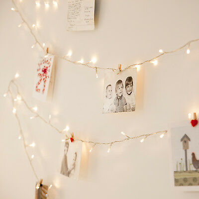 100 Warm White LED Indoor Bedroom Xmas Fairy String Lights On 8m Clear Cable