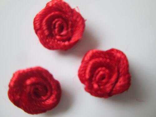 50 satén flores flores 9mm lavables aplicación Patch rojo m122