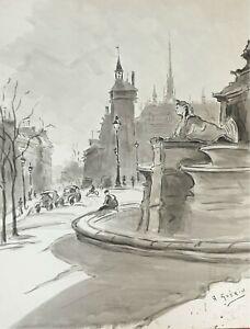 RUE DE PARIS. AQUARELLE SUR PAPIER. SIGNÉ A. GUERIN. VERS 1940.