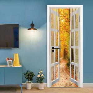 3D-Autumn-Forest-Road-Door-Sticker-Self-adhesive-Decor-Decal-Wallpaper
