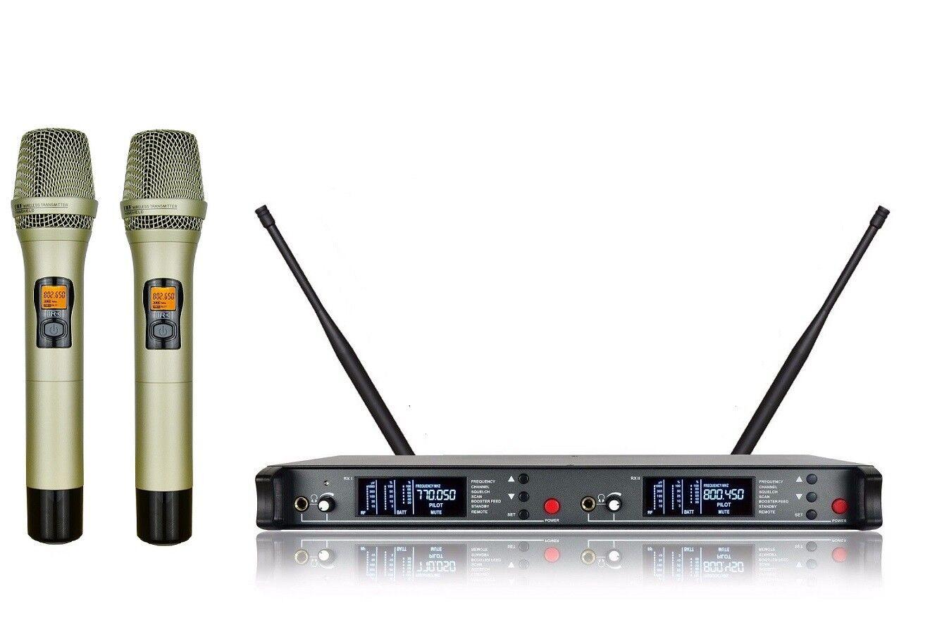 Professional Dual Wireless Microphone System UHF Cordless mic Set Performance