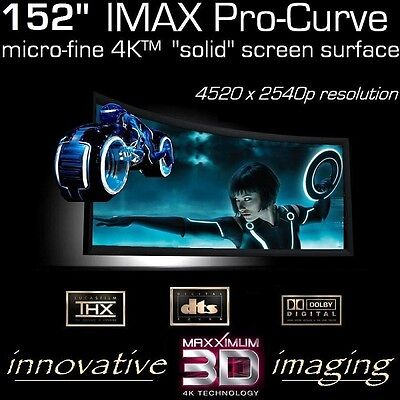 """152"""" 2.35:1 PRO-CURVE 4K HOME THEATER PROJECTION FIXED PROJECTOR SCREEN 3D READY"""