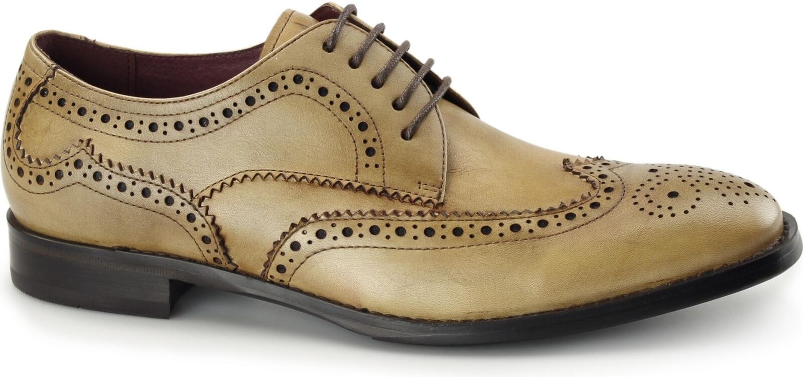 Azor LUGANO Mens Leather Smart Casual Cushioned Derby Brogue shoes Tan Brown