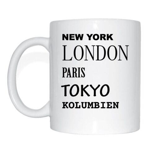 paris tokyo Londres la Colombie tasse de café tasse New york
