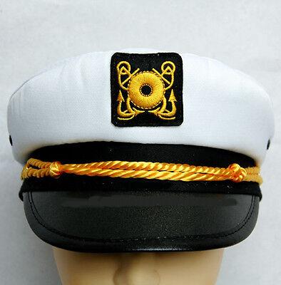 Fashion Yacht Captain Skipper Sailor Boat Ship Hat Cap Costume Party WHITE S M
