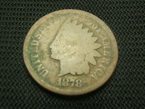 1878-tough-date-old-Indian-copper-Cent-about-good-US-Coin-post-civil-war-era