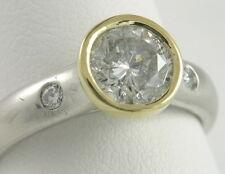Platinum 18K Bezel Set 1 Ct Round Diamond Solitaire Engagement Ring