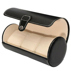 Hochwertige-Uhrenbox-Woolux-Reisebox-fuer-3-Uhren-Schwarz-Leder-breite-C2D4