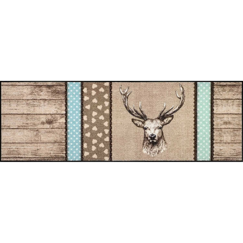 Salonlöwe - Hirsch Holz Patch 60X180 Fußmatte Schmutzfangmatte Wohnmatte
