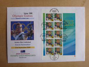 2000-AUSTRALIAN-OLYMPIC-GOLD-SIMON-FAIRWEATHER-ARCHERY-STAMP-SHEET-LARGE-FDC