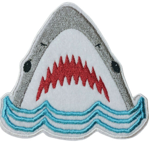 Jaws shark White /& Grey Patch Badge Iron Or Sew On 9cm