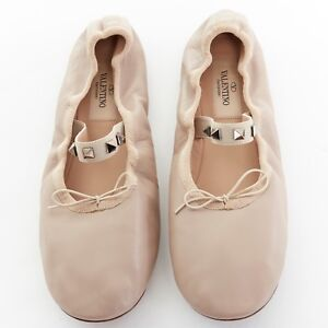 VALENTINO-nude-leather-rockstud-studded-elastic-band-ballerina-flat-shoes-EU37-5
