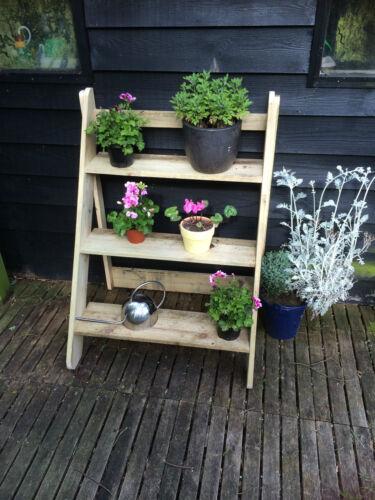wooden plant stand outdoor garden unit 3 step