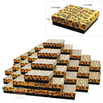 """50 LEOPARD COTTON FILLED GIFT BOXES  3 1/2"""" X 3 1/2"""""""