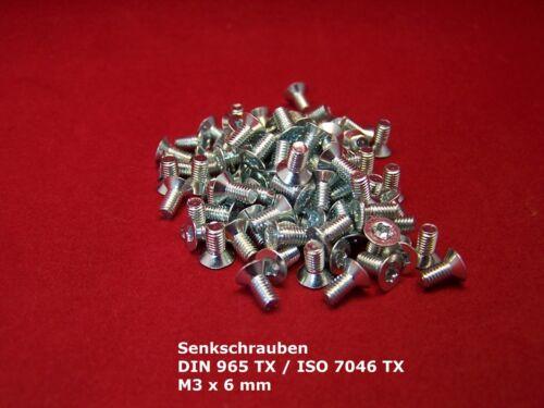 DIN 965 ISO TORX 7046 m3 x 6 mm viti svasate 100 pezzi acciaio GALV ZINCATO