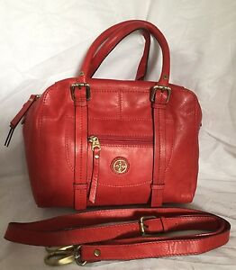 CELLINI-Red-Leather-Baguette-Cross-Body-Shoulder-Bag-Handbag