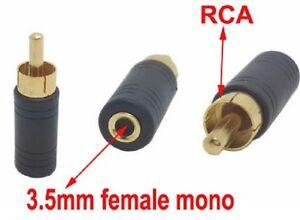 3.5mm Mono Jack Female to Phono RCA Plug Male Socket Adapter for TV Audio DIY
