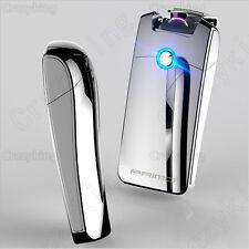 Super Cool Plasma Electric Arc Laser Silver Cigarette USB Lighter Rechargeable