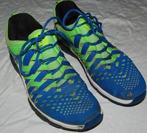Details about Nike Free Trainer Mens Shoes Sneakers 15 Blue Neon Green Lace Up Running Train