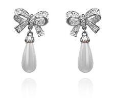 Silver & Cream White Pearl Bow Knot Drop Dangle Wedding Earrings Bridal E702