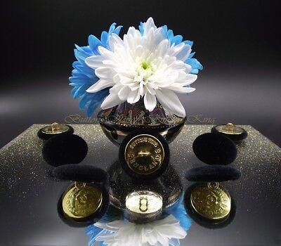 "set 8 ENGLAND Metal GOLD Velvet Fabric Covered Buttons Deep Blue size 28mm.1.1/"""