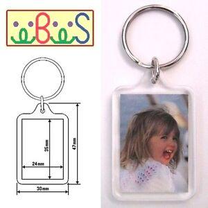50x Blank Acrylic Keyrings 41x30mm Frame & 35x24mm Photo key ring plastic F1444