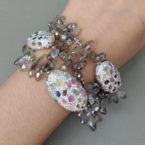 "8/"" 3 Brins Gris Cristal Bracelet Pave tourmaline beads"