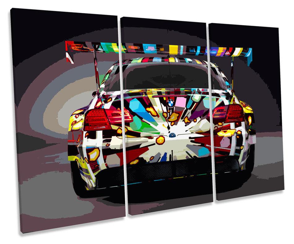 BMW m3 AUTO SPOILER TREBLE TELA Wall Art Box Foto Incorniciata