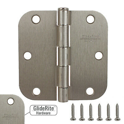 "GlideRite 3.5/"" Polished Chrome Door Hinges Square Corner Hinge 3500-PC-1"