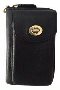 New Ladies Coach  Legacy  Black Leather Zip-around Phone Wallet  d317a1394543d