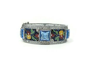 Art-Deco-Enamel-and-Glass-Filigree-Bracelet