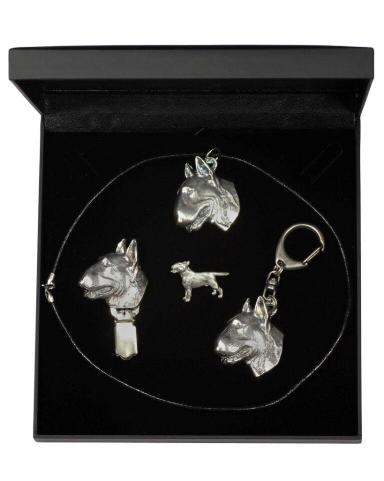 Bull Terrier  bijoux dans une boîte noire, Art Dog FR Type 3