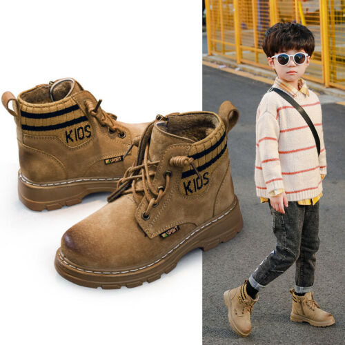 Boys Genuine Leather Boots Shoes Winter Warm Fleece Sneaker Sports Hiking Shoes